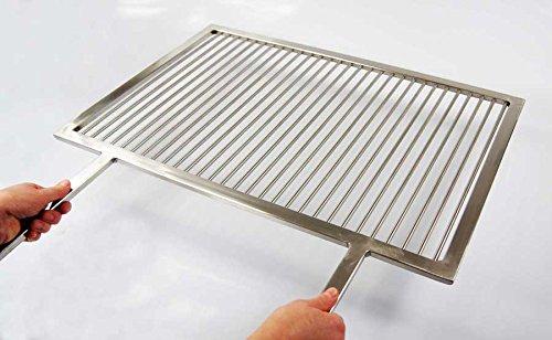 PREMIUM Grillrost Edelstahl 50 x 35 cm + 2 feste Griffe Handarbeit V2A 1.4301