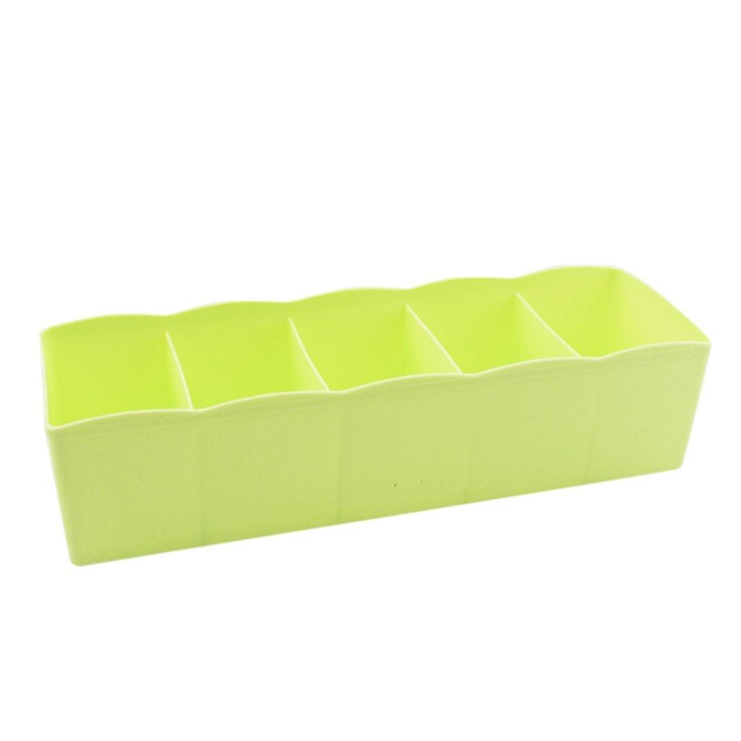 G-real Storage Bag Box, 5 Cells Plastic Storage Boxes Sock Underwear Tie Bra Closet Cosmetic Organizer Drawer Divider (Green)