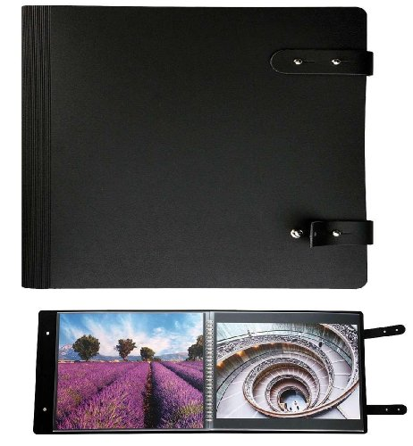 (Prat Pampa 163 Spiral Book, Soft Bonded-Leather Cover with 10 Sheet Protectors, Landscape 8.5 X 11 inches, Black (163I-8.5x11))