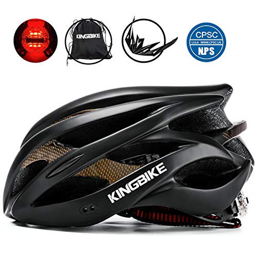 KINGBIKE Adult Bike Helmet Ultralight with Bicycle Helmets Portable Bag and Safety Rear Led Light Visor for Men Women Cycling Biking(Black,XL)
