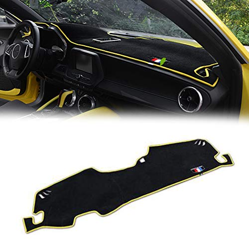 - GTINTHEBOX Custom Fit Dashboard Black w/Yellow Rim Center Console Cover Dash Mat Protector Sunshield Cover Pad for 2016 2017 Chevrolet Chevy Camaro
