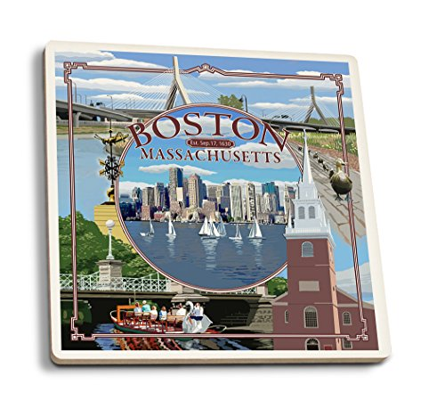 Lantern Press Boston, Massachusetts - Montage (Set of 4 Ceramic Coasters - Cork-Backed, Absorbent)