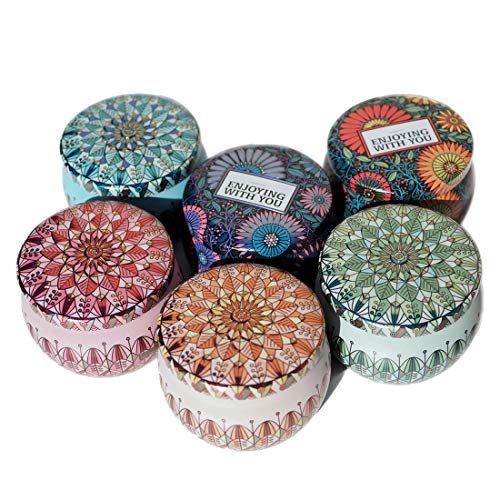 (Leiqin Storage Containers Colorful Tins Round Metal Tins DIY Candle Making Kit, Art Collectibles Storage Jar with Lid-Set of 6)