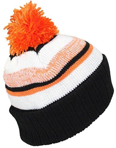 (Best Winter Hats Quality Striped Variegated Cuffed Beanie W/Pom (L/XL) - Black/Orange/White)