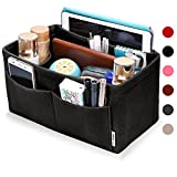 Hokeeper Felt Purse Insert Organizer, Handbag Organizer, Bag in Bag, Diaper Bag Organizer, Stand on Its Own,11 Compartments, 4 Sizes, 6 Colors (X-Large, Black)