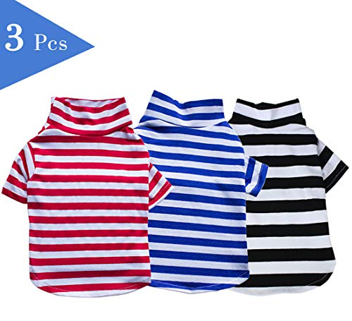 dofyou Pet Shirt, Dog Cat Clothes Puppy Classic Striped T-Shirt Pet Summer Apparel, Pack of 3