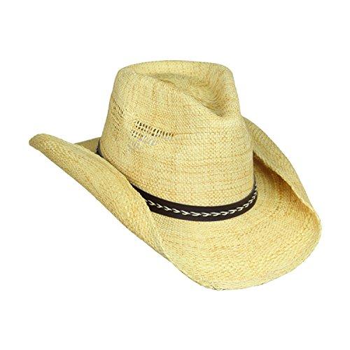 [Shapeable Drifter Cowboy Hat w/ Eagle Cut-Outs, Leather Hatband w/ Braid, Flex Fit (24 inch,] (Straw Farmer Hats)