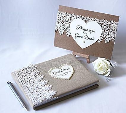 Livre D Or De Mariage Personnalise Ensemble De Lin Avec Dentelle Florale Et Carte D Ecran Pen