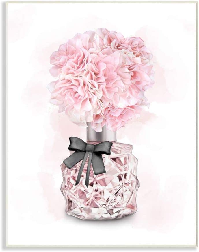 Stupell Industries Pink Flower Perfume Glam Fashion Design, Designed by Ziwei Li Art, 10 x 0.5 x 15, Wall Plaque