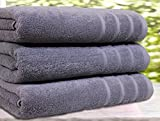 Real Egyptian Combed 3 Pack Bath Towels & Hand Towels 550 Gsm Extra Large sizes (3 Bath Towels, Grey)