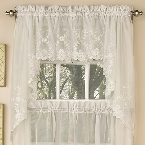 Ivory Swag - Sweet Home Collection Lhf-Swag-6705-Ivory Kitchen Curtain, Swag, Embroidered Ivory