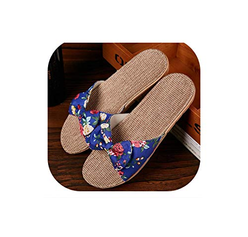 Women Summer Flax Home Slippers Cute Butterfly-Knot Non-Slip Unisex Family Slippers Floor Home Shoes,Blue,35