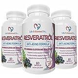 Life Enhanced Pro Resveratrol 1150mg Trans Resveratrol Pure Blend | Non-GMO Natural Polyphenols Antioxidant Supplement with Grape Seed, Green Tea, Acai, Vitamin C | 60 Veggie Reservatrol Capsules