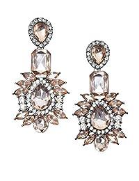 Happiness Boutique Women Vintage Statement Earrings in Pink | Big Rhinestones Dangle Chandelier Earrings nickel free