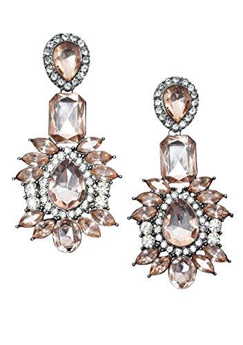 Vintage Statement Earrings in Pink   Big Rhinestones Dangle Chandelier Earrings nickel free
