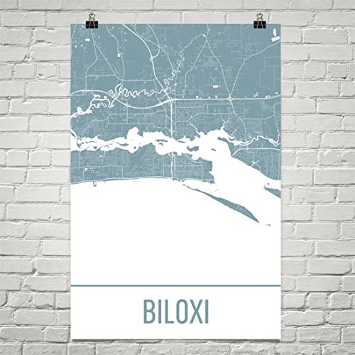 Biloxi Map, Biloxi Art, Biloxi Print, Biloxi MS Poster, Biloxi, Mississippi Gifts, Map of Mississippi, Mississippi Poster, Gulf of Mexico Poster 12