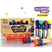 Amazon Lightning Deal 94% claimed: Dab and Dot Marker Set of 8 Washable Paint Dauber / Markers /Dabbers for learning Alphabets, Numbers, Math, Speech & Art Educational Activities in Preschool Kindergarten and Homeschool (8 Pack)