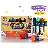 Dab and Dot Marker Set of 8 Washable Paint Dauber / Markers /Dabbers for learning Alphabets, Numbers, Math, Speech & Art Educational Activities in Preschool Kindergarten and Homeschool (8 Pack)