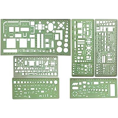 6pcs-plastic-clear-green-color-measuring
