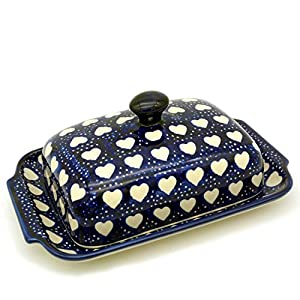 Bunzlauer Butter Dish with Button Handle for 250 g Butter Dekor Weisse Herzen