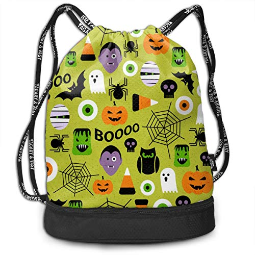 Girls Boys Drawstring Bag Theft Proof Lightweight Beam Backpack, Gym Sackpack - Happy Halloween Party Patterns Waterproof Backpack Soccer Basketball -