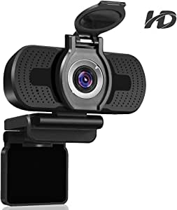 Dericam 1080P HD Webcam, USB Webcam for Live Streaming, Desktop and Laptop Webcam, Plug and Play Video Calling Computer Camera, Built-in Mic with Webcam Cover, W2, US, Black