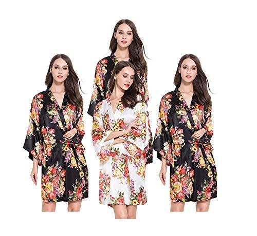 Bata Un Schwarz En Mode Vintage Kimono De Mujer Estampado Floral Tamaño Marca Blush Larga Claro Manga V Rosa Cuello rarqU