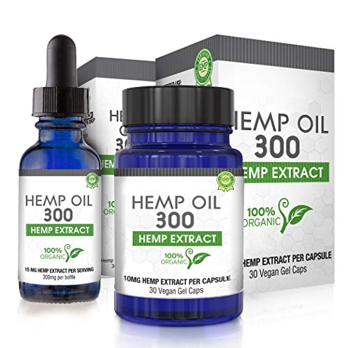 Hemp Oil Combo Pack for Pain Relief, Reduce Stress, Anti-Anxiety, Natural Anti Inflammatory, Rich in MCT Fatty Acids…