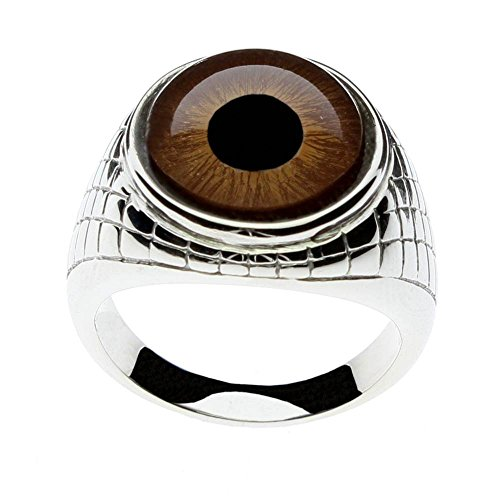 Steel Dragon Men's Brown Glass Eye Ring with an Egyptian Inspired Setting Jewelry(Brown Human, 9)