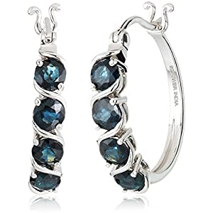 Women's Platinum Plated Sterling Silver Blue Sapphire Round Hoop Earrings