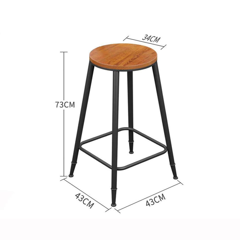 Wooden 73cm QIDI Bar Stool Counter Chairs Wood Bar Stool Footrest Metal Frame Nice Seat Cushion for Breakfast Kitchen Bar Cafe (color   with Cushion, Size   68CM)