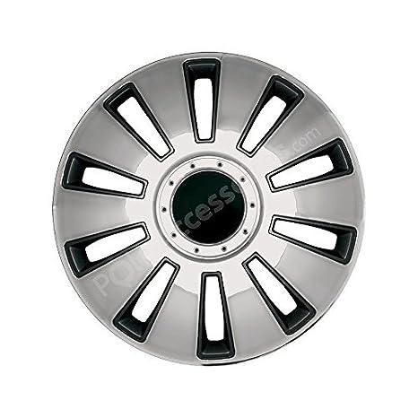 Lote de embellecedores para ruedas de 15 pulgadas 4 SILVERSTONE, color negro y plateado: Amazon.es: Deportes y aire libre