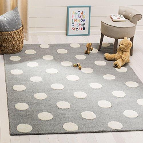 Safavieh Kids Collection SFK904C Handmade Grey and Ivory Polka Dot Wool Area Rug (8' x 10')