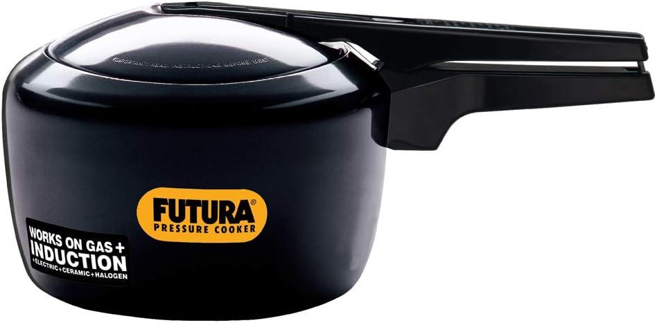Futura Hawkins 3-Litre Hard Anodized Induction Compatible Pressure Cooker, Small, Black