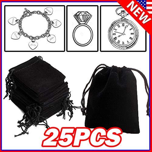 native gear 100PCS Black Velvet Drawstring Velour Pouch Jewelry Baggie Ring Gift Bag Pouch Sets (25)