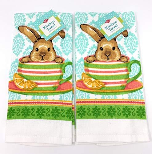 Ritz Easter Bunny Tea Cup Kitchen Dish Towel 2 pk Set ()
