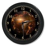 "Galaxy Nebula Space Planet Custom Wall Clock Quartz 9.65"" Home Office Black Clock Decor Gifts"