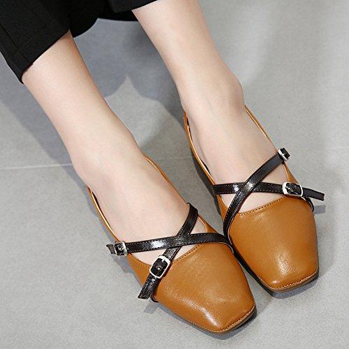 Aisun Mujeres Retro Hebilla Correa Square Toe Elegante Low Cut Conducción Slip On Pisos Zapatos Marrón
