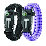 Kyпить X-Plore Gear Emergency Paracord Bracelets | Set Of 2| The ULTIMATE Tactical Survival Gear| Flint Fire Starter, Whistle, Compass & Scraper/Knife| BEST Wilderness Survival-Kit -- Black(K)/Purple(K) на Amazon.com