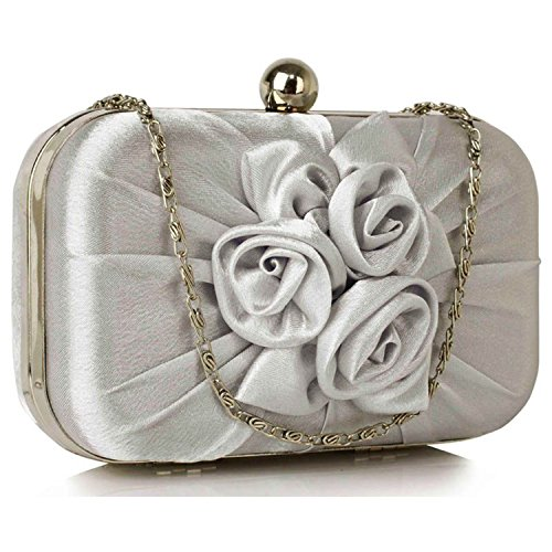 L And S Handbags Satin Pleated Flower Front Clutch Bag - Cartera de mano para mujer plata