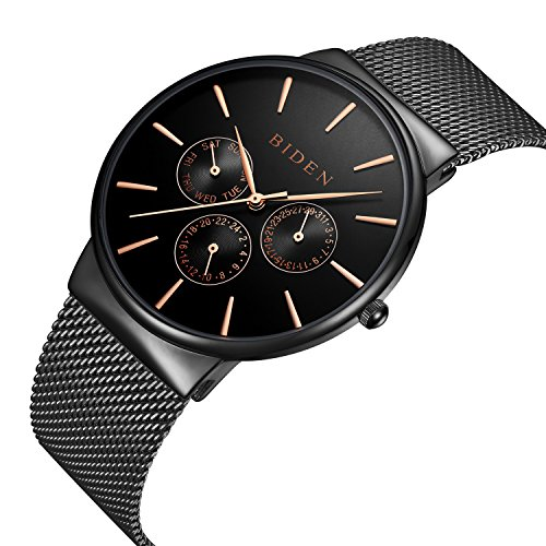 Watch,Watches Men Black, Stainless Steel Classic Luxury Business Casual Watches Waterproof Multifunctions Quartz Milanese Mesh Band Wrist Watch
