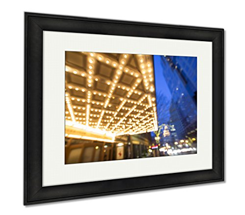 Ashley Framed Prints Portland Downtown Broadway Entertainment District At Night, Modern Room Accent Piece, Color, 34x40 (frame size), Black Frame, - Portland Shopping Downtown Or