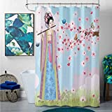 bathroom shower curtains sets complete mats Music Decor Collection,Oriental Girl near Cherry Blossoms Spring Petals Butterfly Grassland Japan Design Print,Blue Pink Green,W72' x L72' christmas fish sh