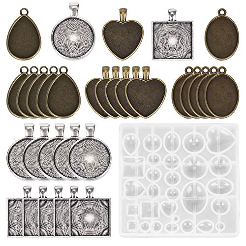(Silicone Resin Jewelry Casting Molds and 30 Pieces 5 Styles Pendant Trays- Round & Square & Heart & Teardrop & Oval for Pendant Crafting DIY Jewelry Gift)