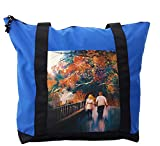 Lunarable City Love Shoulder Bag, Autumn Trees Couple Lover, Durable with Zipper