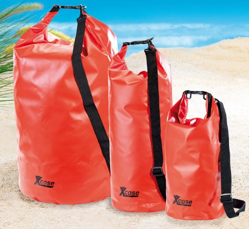Xcase Sack wasserdicht: Wasserdichter Packsack 16 Liter, blau (Wasserfester Sack) rot