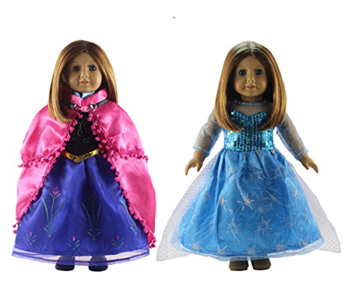 5ecb7b9bb52 2 Set Anna s+Elsa s Dress Clothes for 18   American Girl Doll Princess  Costumes