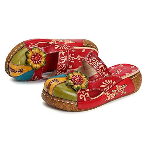 Gracosy Læder Tøffel, Kvinder Oxford Tøffel Vintage Slip-ons Farverige Blomst Backless Dagdriver Sko Rød
