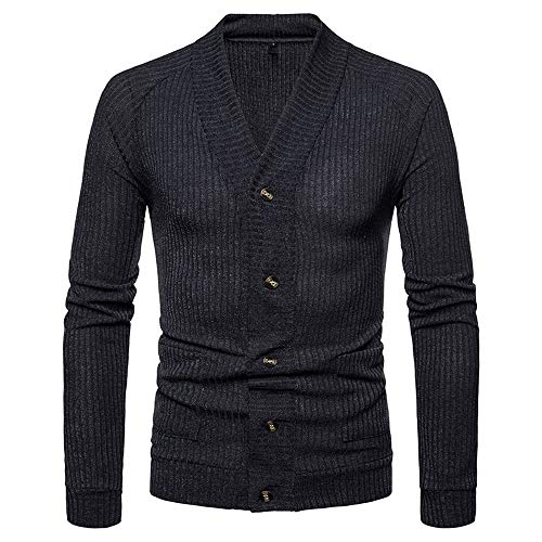 Muranba Clearance Men V Neck Button Knit Sweater Cardigan Coat (US: L/Tag : XL, Dark Gray C) ()