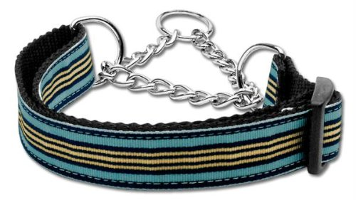 Mirage Pet Products Martingale Preppy Stripes Nylon Ribbon Collars, Medium, Light Blue/Khaki